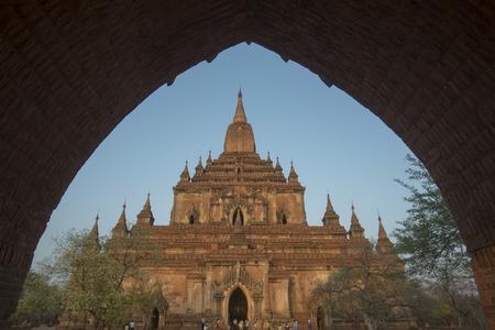 that: the That byin nyu Temple in Bagan in Myanmar in Southeastasia. Stock Photo