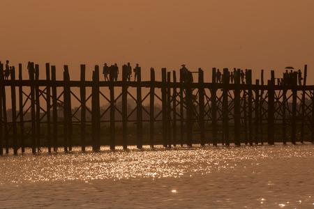 woodbridge: the u bein bridge in Amarapura near the City of Mandalay in Myanmar in Southeastasia.