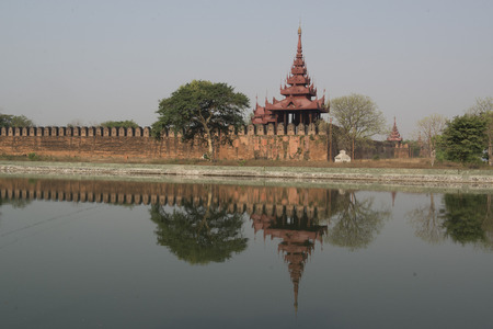 moat: the Moat and Fortress wall of the Royal Palace in the City of Mandalay in Myanmar in Southeastasia. Editorial