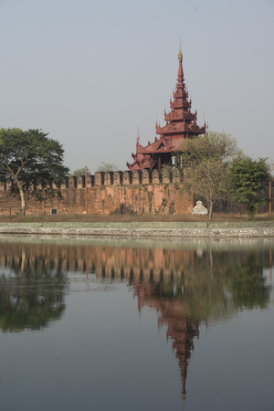moat wall: the Moat and Fortress wall of the Royal Palace in the City of Mandalay in Myanmar in Southeastasia. Editorial