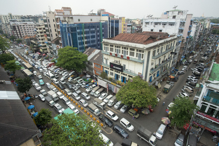 a road in the china town in the City of Yangon in Myanmar in Southeastasia. Editorial