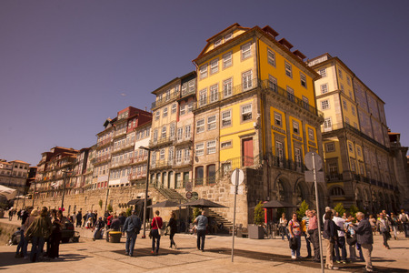 ribeira: a square in the old town in Ribeira in the city centre of Porto in Porugal in Europe.