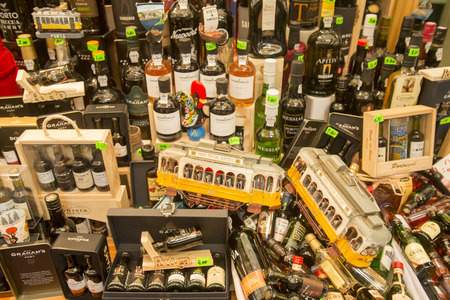 a wine shop at the Market Mercado do Bolhao in the city centre of Porto in Porugal in Europe. Editorial