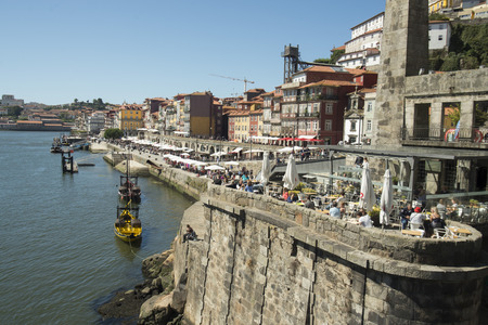 ribeira: the old town on the Douro River in Ribeira in the city centre of Porto in Porugal in Europe. Editorial