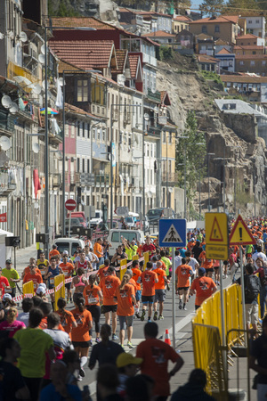 ribeira: the Porto City Marathon in the city centre of Porto in Porugal in Europe. Editorial