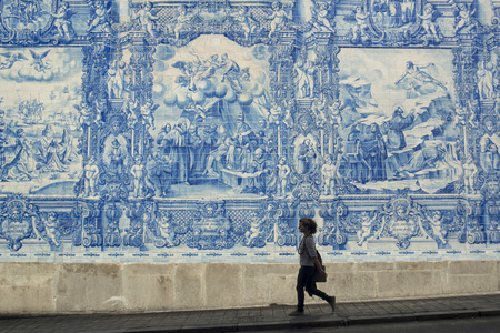 azulejo: hand painted tile azulejo in the old town of  ribeira in the city centre of Porto in Porugal in Europe. Editorial