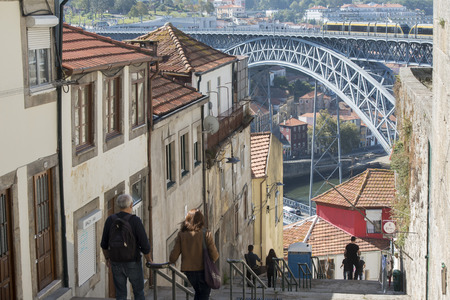 luis: the Ponte de Dom Luis 1 at the old town on the Douro River in Ribeira in the city centre of Porto in Porugal in Europe.