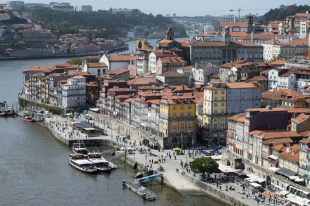 douro: the old town on the Douro River in Ribeira in the city centre of Porto in Portugal in Europe. Editorial