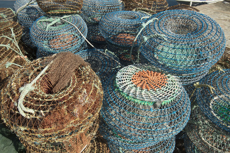 fishingnet: fishing net on the coast in the city centre of Porto in Portugal in Europe.