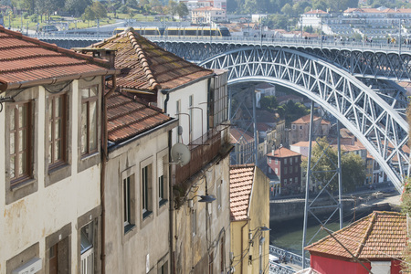 ribeira: the Ponte de Dom Luis 1 at the old town on the Douro River in Ribeira in the city centre of Porto in Portugal in Europe. Editorial