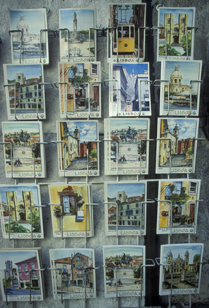 baixa: postcards in the city centre of Baixa in the city centre of Lisbon in Portugal in Europe.