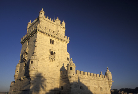 belem: the Torre de Belem in Belem in the city of Lisbon in Portugal in Europe.