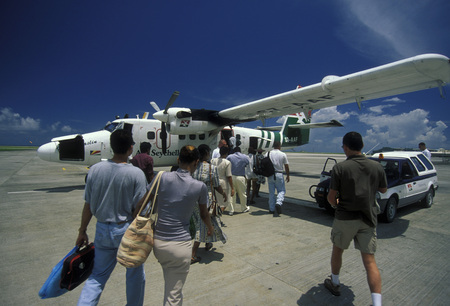 afrika: a airplane of the Air Seychelles on the Island Mahe of the seychelles islands in the indian ocean