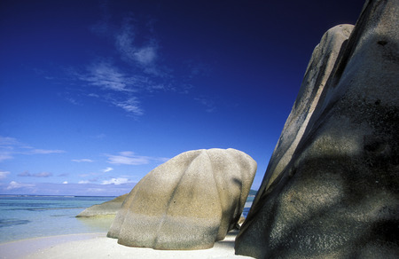 la digue: a Beach on the coast if the Island La Digue of the seychelles islands in the indian ocean