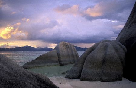 digue: a Beach on the coast if the Island La Digue of the seychelles islands in the indian ocean