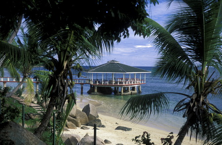 Ein Traumstrand auf der Insel Praslin der Inselgruppe Seychellen im Indischen Ozean in Afrika.