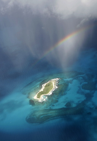 southamerica: the airview of the seascape of the Los Roques Islands in the caribbean sea of Venezuela. Stock Photo