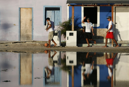 southamerica: people in the village on the Gran Roque Island at the Los Roques Islands in the caribbean sea of Venezuela. Editorial