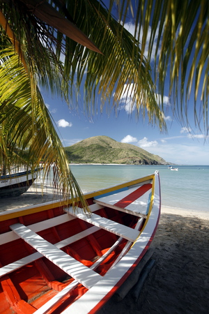 isla: the beach Playa Pedro Gonzalez in the town of Pedro Gonzalaz on the Isla Margarita in the caribbean sea of Venezuela. Stock Photo