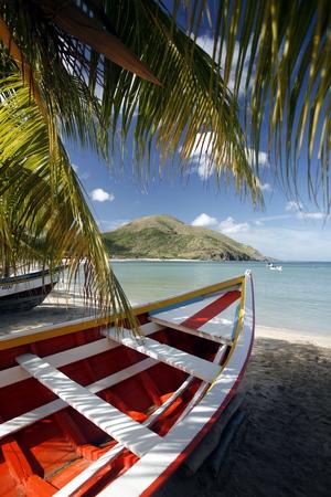 fishingboat: the beach Playa Pedro Gonzalez in the town of Pedro Gonzalaz on the Isla Margarita in the caribbean sea of Venezuela. Stock Photo