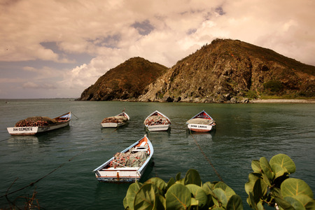 southamerica: the beach of the town of Pampatar on the Isla Margarita in the caribbean sea of Venezuela.