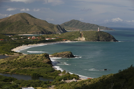 the Coast with the beach Playa Pedro Gonzalez in the town of Pedro Gonzalaz on the Isla Margarita in the caribbean sea of Venezuela.