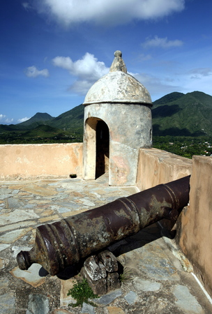 southamerica: the Castillo Santa Cruz in the town of La Asuncion on the Isla Margarita in the caribbean sea of Venezuela.