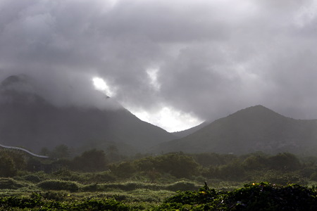 southamerica: the landscape near the town of La Asuncion on the Isla Margarita in the caribbean sea of Venezuela.