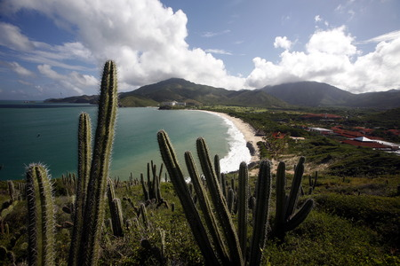 southamerica: the Coast with the beach Playa Pedro Gonzalez in the town of Pedro Gonzalaz on the Isla Margarita in the caribbean sea of Venezuela.
