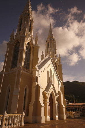 isla: the Catedral in the town of El valle del Espiritu Santo on the Isla Margarita in the caribbean sea of Venezuela. Stock Photo