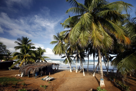southamerica: the Coast at the beach in the town of Cuacuco on the Isla Margarita in the caribbean sea of Venezuela.