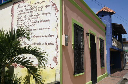 southamerica: a house in the town of Juangriego on the Isla Margarita in the caribbean sea of Venezuela.