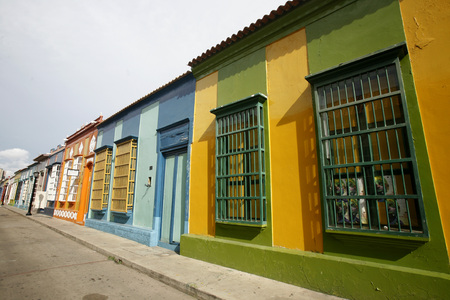 southamerica: colonial houses in the town of Maracaibo in the west of Venezuela.