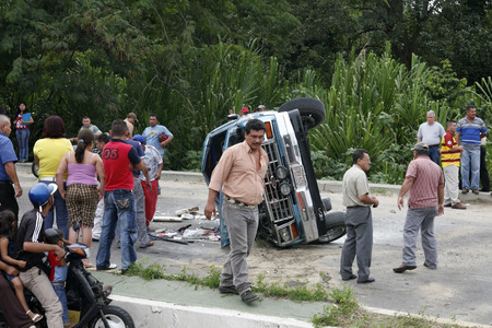 southamerica: a car accident near the mountain village of Trujillo in the west of Venezuela.