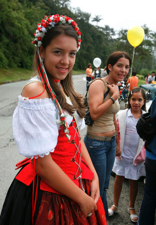 people at the traditional Festival on the 11. November in the Town of the German Colony in the Mountain Village of Colonia Tovar in the north of Venezuela.