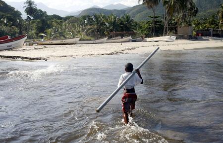 southamerica: the coast in the town of  chuao on the caribbean coast in Venezuela.