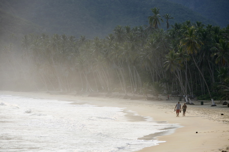 southamerica: a beach at the village of choroni on the caribbean coast in Venezuela.