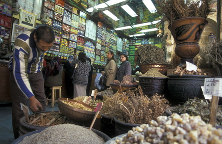 souq: the souq or market in the old town of Cairo the capital of Egypt in north africa