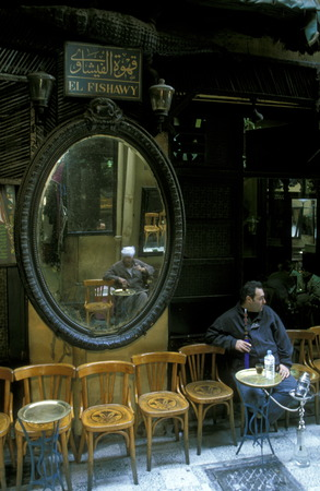 tea house: a cofe and tea house in the souq or market in the old town of Cairo the capital of Egypt in north africa