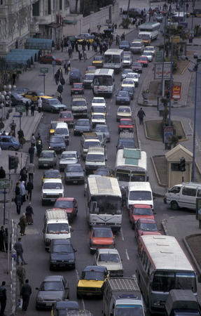 trafic: trafic in the city centre of Cairo the capital of Egypt in north africa