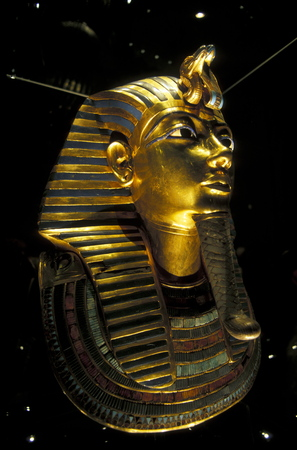 north africa: the Tutankhamun mask in the Egyptian Museum in the old town of Cairo the capital of Egypt in north africa