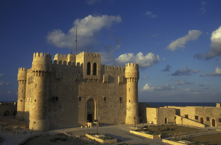 north africa: the fort Qaitbey at the al corniche road in the city of Alexandria on the Mediterranean sea in Egypt in north africa