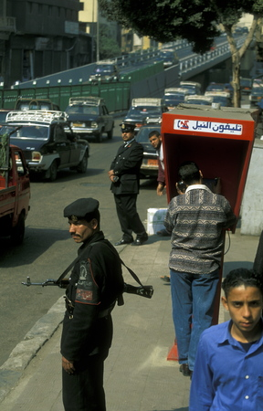 north africa: a public phone the city of the Cairo the capital of Egypt in north africa