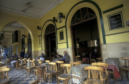 souq: a cofe and tea house in the souq or market in the old town of Cairo the capital of Egypt in north africa