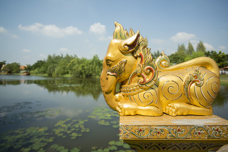 woodbridge: a elephant decoration on a traditional Woodbridge in the Ancient City or Muang Boran at the city of Samuth Prakan south of the city of Bangkok in Thailand in Southeastasia. Editorial