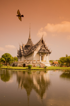 temple thailand: a traditional Temple in the Ancient City or Muang Boran at the city of Samuth Prakan south of the city of Bangkok in Thailand in Southeastasia. Editorial