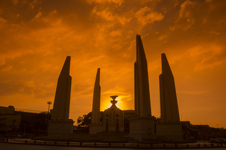 democracy Monument: the Democracy Monument in Banglamphu in the city of Bangkok in Thailand in Southeastasia. Stock Photo