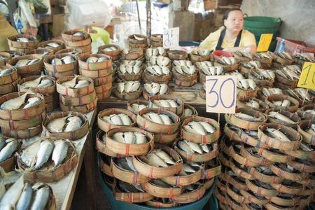 city fish market: fresh Fish at the Thewet market in Banglamphu in the city of Bangkok in Thailand in Southeastasia.