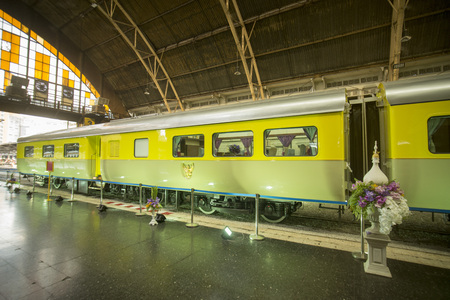 hua: the thai Royal Train the Railway Station Hua Lamphong in the city of Bangkok in Thailand in Southeastasia. Editorial