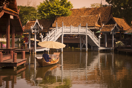woodbridge: a traditional Woodbridge in the Ancient City or Muang Boran at the city of Samuth Prakan south of the city of Bangkok in Thailand in Southeastasia.